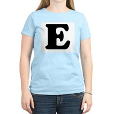 Large Letter E Women's Pink T-Shirt