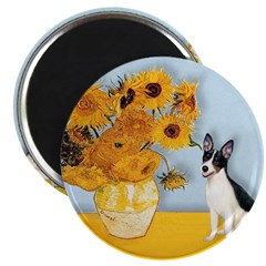 "Sunflowers / Rat Terrier 2.25"" Magnet (10 pack)"