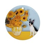 Sunflowers / Rat Terrier Ornament (Round)
