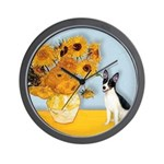 Sunflowers / Rat Terrier Wall Clock
