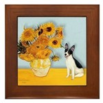 Sunflowers / Rat Terrier Framed Tile
