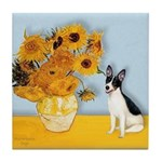 Sunflowers / Rat Terrier Tile Coaster