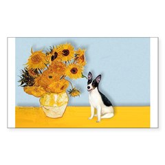 Sunflowers / Rat Terrier Sticker (Rectangle)