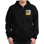 Sunflowers / Rat Terrier Zip Hoodie (dark)
