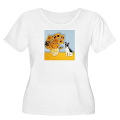 Sunflowers / Rat Terrier Women's Plus Size Scoop N