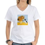 Sunflowers / Rat Terrier Women's V-Neck T-Shirt