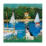Sailboats / Rat Terrier Tile Coaster