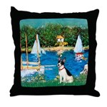Sailboats / Rat Terrier Throw Pillow
