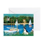 Sailboats / Rat Terrier Greeting Card