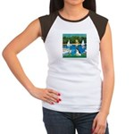 Sailboats / Rat Terrier Women's Cap Sleeve T-Shirt