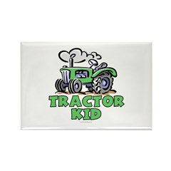 Green Tractor Kid Rectangle Magnet