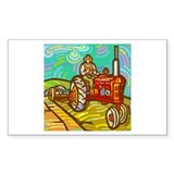 Van Gogh Tractor Rectangle Sticker 50 pk)