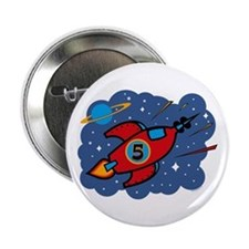 "Rocket Ship 5th Birthday 2.25"" Button"