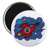 Rocket Ship 5th Birthday Magnet