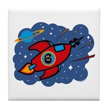 Rocket Ship 6th Birthday Tile Coaster