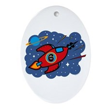 Rocket Ship 6th Birthday Oval Ornament