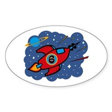 Rocket Ship 6th Birthday Oval Decal