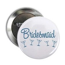 "Blue M Martini Bridesmaid 2.25"" Button"