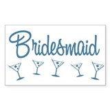 Blue M Martini Bridesmaid Rectangle Decal
