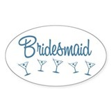 Blue M Martini Bridesmaid Oval Decal