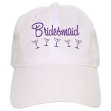 Purple M Martini Bridesmaid Baseball Cap