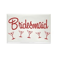 Red M Martini Bridesmaid Rectangle Magnet