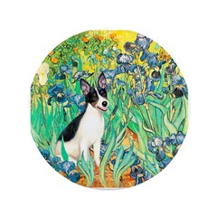"Irises / Rat Terrier 3.5"" Button"