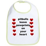 pit bull pawprints Bib