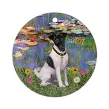 Monet's Lilies & Fox Terrier Ornament (Round)
