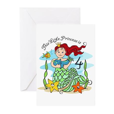 Mermaid Princess 4th Birthday Cards (Pk of 20)