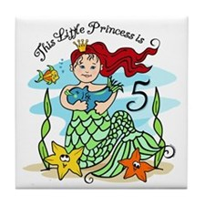 Mermaid Princess 5th Birthday Tile Coaster