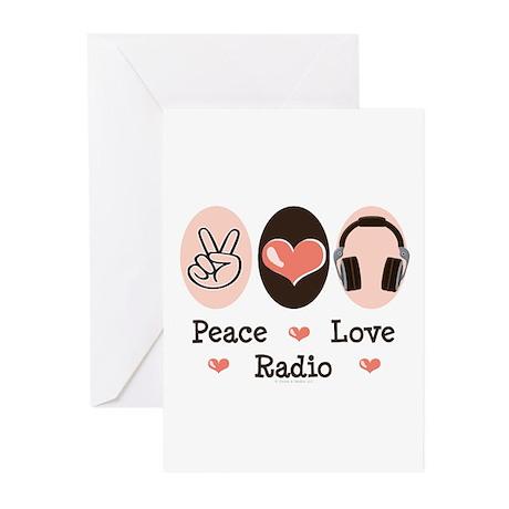 Peace Love Radio Greeting Cards (Pk of 10)