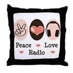 Peace Love Radio Throw Pillow