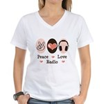 Peace Love Radio Women's V-Neck T-Shirt