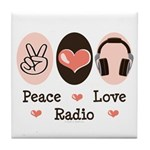 Peace Love Radio Tile Coaster