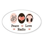 Peace Love Radio Oval Sticker (10 pk)