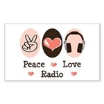 Peace Love Radio Rectangle Sticker