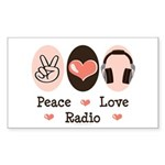 Peace Love Radio Rectangle Sticker 10 pk)