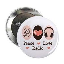 "Peace Love Radio 2.25"" Button (100 pack)"