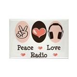 Peace Love Radio Rectangle Magnet