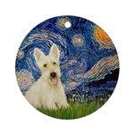 Starry Night / Scottie (w) Ornament (Round)