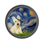 Starry Night / Scottie (w) Wall Clock