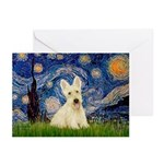 Starry Night / Scottie (w) Greeting Cards (Pk of 2
