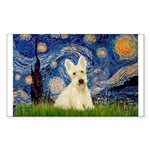 Starry Night / Scottie (w) Sticker (Rectangle)