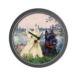 Seine / Scotties (b&w) Wall Clock