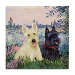 Seine / Scotties (b&w) Tile Coaster