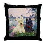 Seine / Scotties (b&w) Throw Pillow