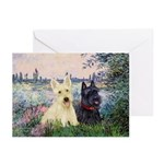 Seine / Scotties (b&w) Greeting Cards (Pk of 10)