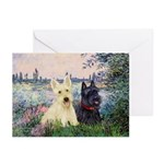 Seine / Scotties (b&w) Greeting Cards (Pk of 20)