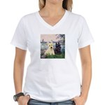 Seine / Scotties (b&w) Women's V-Neck T-Shirt